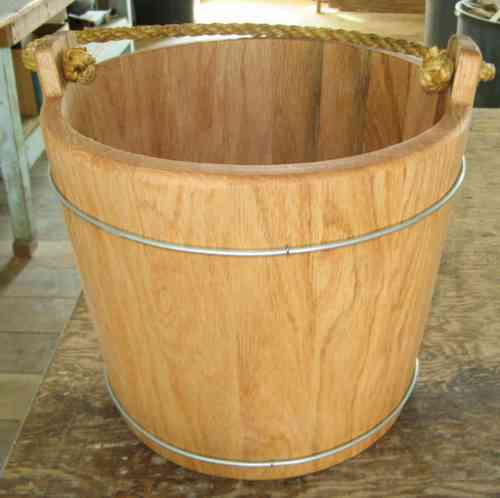 oak water bucket with wire band