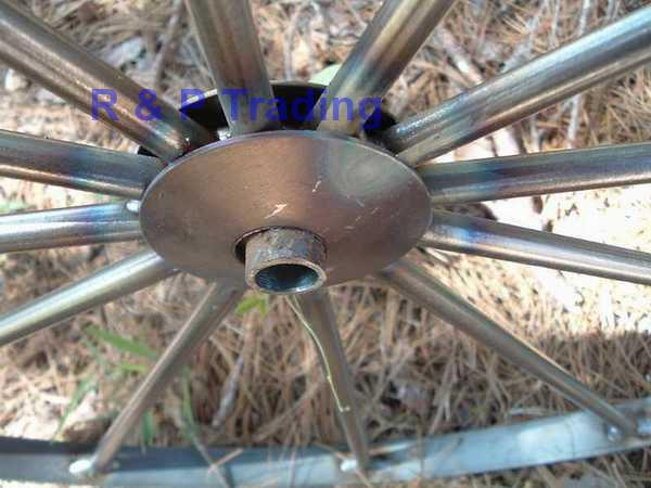 Steel wagon wheels for wagons, carts, and decorative