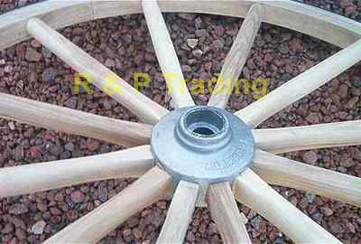 close-up of wooden wagon wheel with metal hub