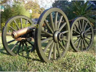 cannon with wooden cannon wheels